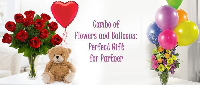 Combo of Flowers and Balloons: Gift for Partner